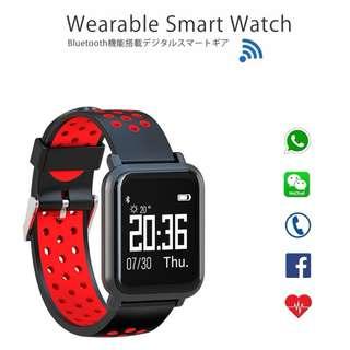 [ 功能強勁 ] Smart Watch 智能手錶 - WHATSAPP ,WECHAT 信息顯示/來電顯示/血壓,心率監測/卡路里計算 /計步器/睡眠監測 IP68 防水 Fitness Track