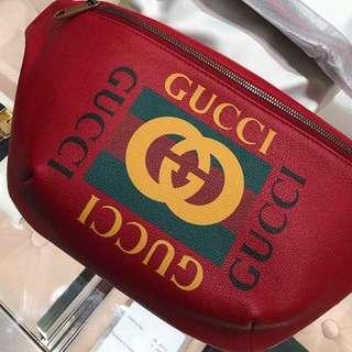全新巴黎代購 Gucci logo 紅色腰包