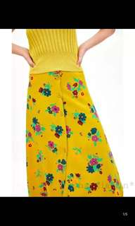 Europe and the United States positive buttons and printed floral Midi skirt skirts in the long skirt