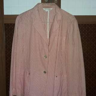 Blazer Pink Putih Motif garis Vertikal