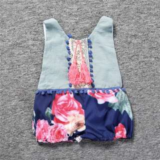 BMT398 - Vintage Flowery Sexy Back Romper *Cotton*