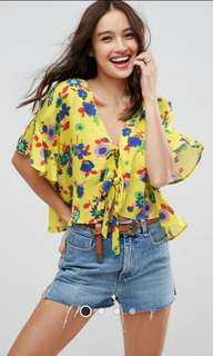 ASOS Tie Front Blouse with Frill Sleeve in Bright Ditsy