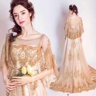 2018天使嫁衣婚紗新款 復古奢華高貴顯瘦金色新娘結婚敬酒服晚宴年會禮服