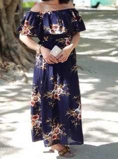 Blue Floral Off Shoulder Maxi Dress with Slit (worn once only!!!)
