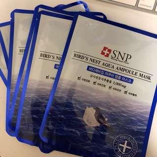 SNP bird's nest aqua mask 6片+2片贈品