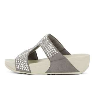 FitFlop GLITZIE™  Leather Slide Sandals   Dove Blue   US Women's Size 5,6,7,8,9,10,11   Flip Flop Sandal Slipper Slide