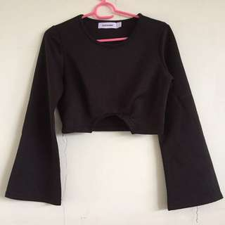 The Editors Market Black Cut In Long Sleeve Flare Crop Top