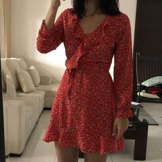 Red Printed Mini Wrap Dress Sz S-M