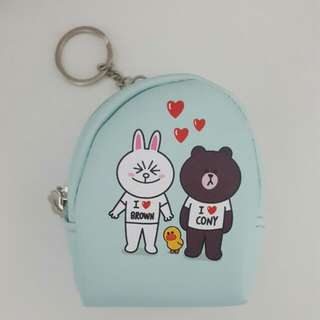 Line Friends Brown Cony Coin Purse Wallet Holder With Keychain