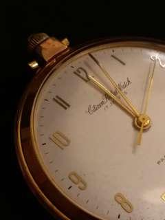 日本CITIZEN西鉄城PHYNOX17石手動上鏈古董金懷錶 70年代日本CITIZEN西鉄城金色PARASHOCKPHYNOX 數字錶面