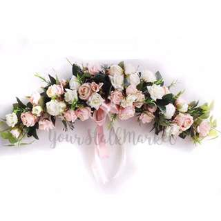 💐YourStalkMarket - Artificial Wedding Car Decor Rose Garland Pink