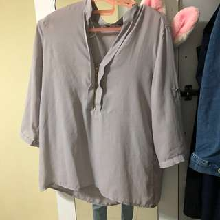 [3 FOR $12] V neck Grey Blouse