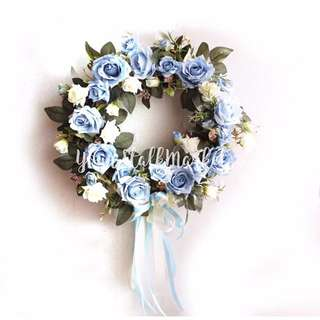 💐YourStalkMarket - Artificial Flower Wreath Baby Blue / Pink