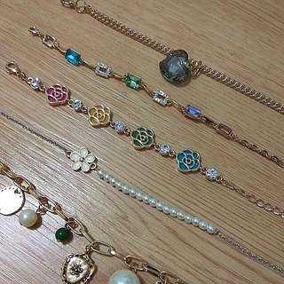 NEW Stones, Faux Pearl, Mirror, Camelia, Zirconia and Bead Bracelets And Anklet