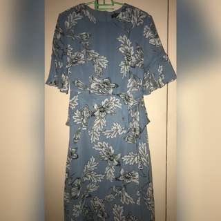 Zalora Blue Floral Dress with Tag