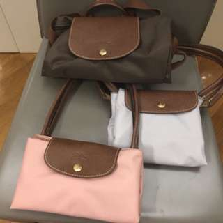 Longchamp Pink Grey Brown backpack