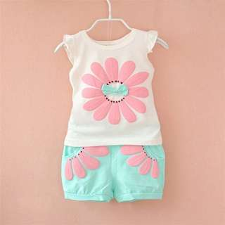 Summer Toddler Baby Girl Sunflower Sweet Shirt Clothing Set