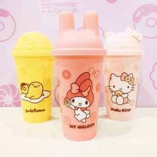 """🌟台灣 「Mister donut x Sanrio」 """"Hello kitty 蛋黃哥 Melody """" 聯名環保杯組🌟"""