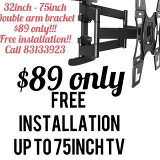 Tv bracket double arm up to 75inch