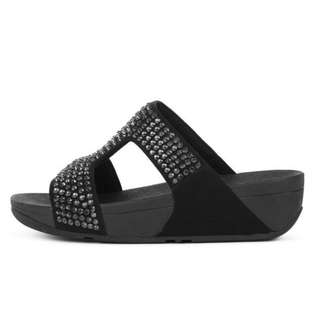 FitFlop GLITZIE™  Leather Slide Sandals | Black | US Women's Size 5,6,7,8,9,10,11 | Flip Flop Sandal Slipper Slide