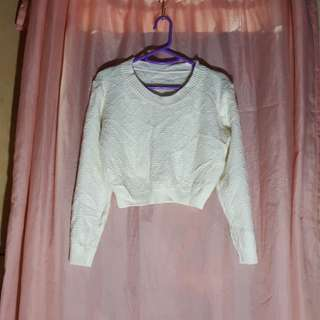 White sweater crop top
