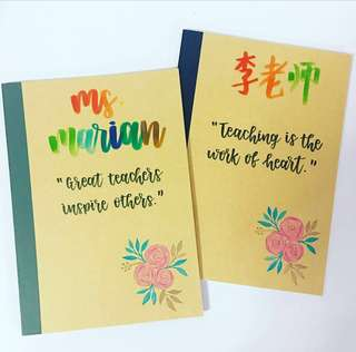 Customisable Colleagues graduating goodie Teachers Colleague Day Student Presents Present Gift Gifts Students Door Birthday friend Friends Party Kids Teachers Calligraphy Personalised Customised Notebooks Notebook muji cheap affordable farewell teacher
