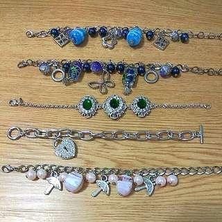 NEW Beads, Zirconia, Stone and Silver Metal Bracelets