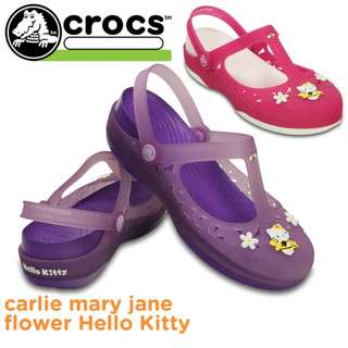 Crocs Hello Kitty Carlie Mary Jane Flower New with Tags Shoes Sandals Slip on 100% original 5 6 7 8