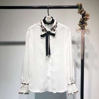 Europe and the United States 2018 spring new lapel beaded lace bow white shirt embroidered jacket women