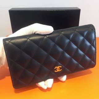 Authentic Chanel Wallet 香奈兒黑色長銀包 羊皮 有盒全新 Lambskin