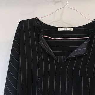 Mango MNG Pinstripe Korean Top Blouse