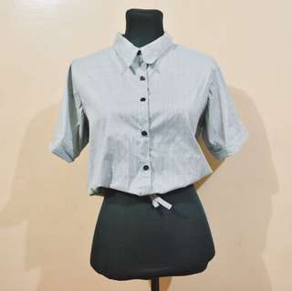 Gray stripes polo with ribbon