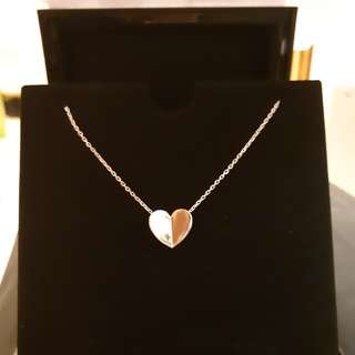 VCA 18K white gold heart necklace