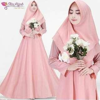 IKN - 0318 - Dress Gamis Busana Muslim Wanita Sally syari Plus Khimar