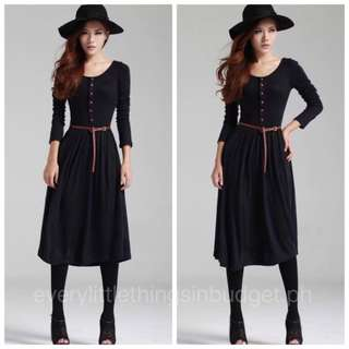 Longsleeve Dress With Belt Included