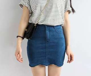 Light Denim Scallop Trim Skirt