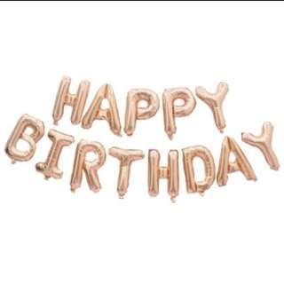 Rose Gold Happy Birthday Foil Balloons