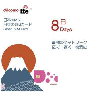 Docomo 日本電話卡8天無限數據上網
