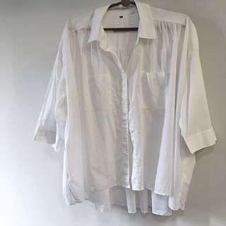 Uniqlo Oversized Boxy Cape Collared Button Down Up Shirt Top Blouse [SOLD]