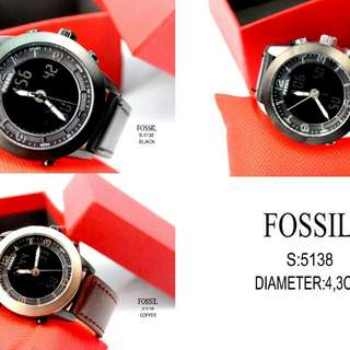 #5138 #Fossil Watch Kualitas Semi Premium Two Time Diameter:4,3cm  Warna: ~Black ~Black White ~Coffee Rossgold.