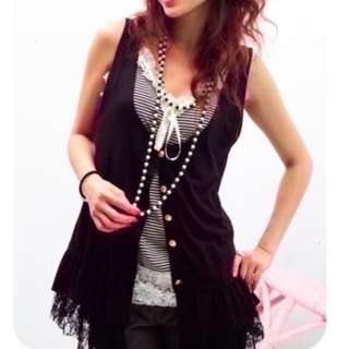 $5 SALE: BN Black Outer Lacy Hem Top (do you see this marked sold? no. then OBVIOUSLY ITS AVAILABLE)