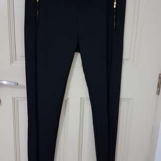 SENSE Black Long Pant with Side Zip Design - Plus Size