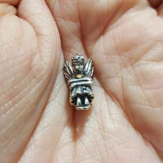 Code SS16 - Nymph Angel Girl Fairy Sitting 100% 925 Sterling Silver Charm, Chain Is Not Included, Compatible With Pandora