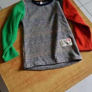 二手 童裝 雙色 造型 加厚 加絨 長袖 上衣 尺碼140