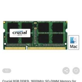 Ram 8gb x 2pcs - pc1600, ddr3