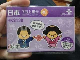 中國聯通 日本7日上網卡 即插即用