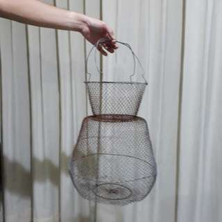 vintage collapsible wire mesh hanging basket