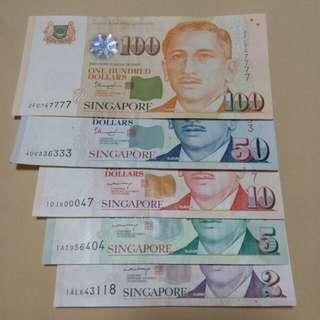 SGD $100,$50,$10,$5,$2 Portrait Paper