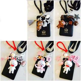 Line friends brown bear cony charms with lanyard