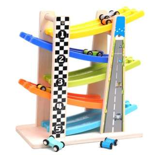 BN Wooden Double-Ramp Slide Racer Car Toy Set